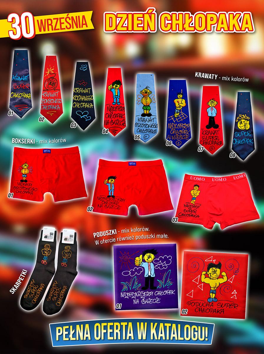 Dzień chłopca, faceta - śmieszne bokserki, krawaty, skarpetki, poduszki z tekstami